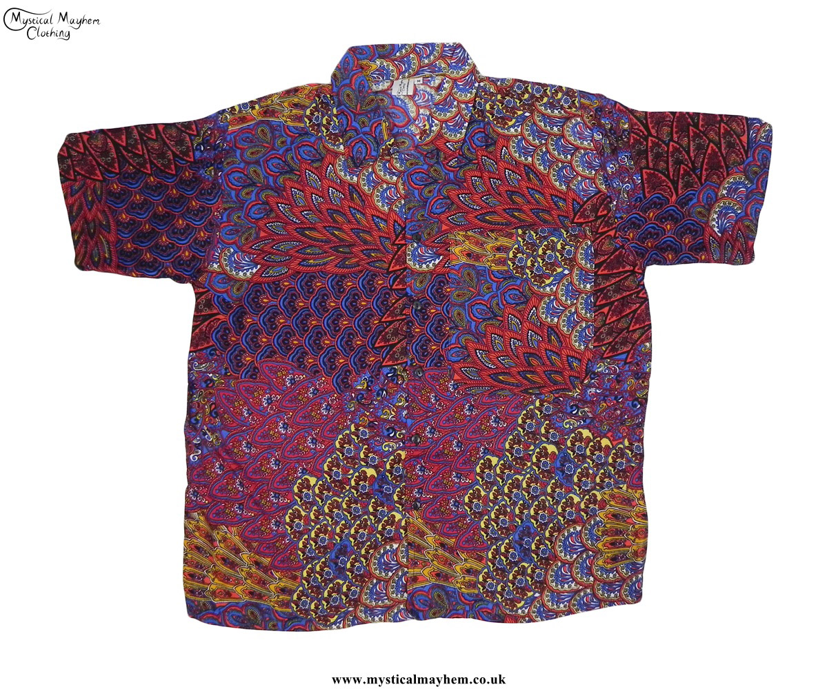 Red and blue funky patterned thai short sleeve hippy for Mens short sleeve patterned shirts