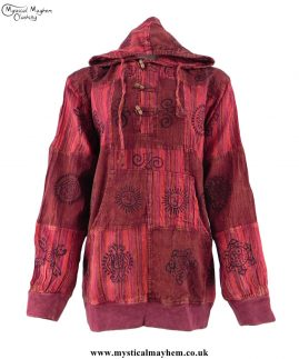 Red-Overdyed-Cotton-Patchwork-Hooded-Hippy-Shirt