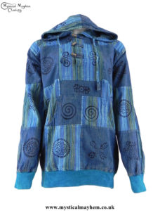 Turquoise-Overdyed-Cotton-Patchwork-Hooded-Hippy-Shirt