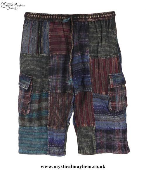 Dark-Mix-Cotton-Patchwork-Long-Festival-Shorts