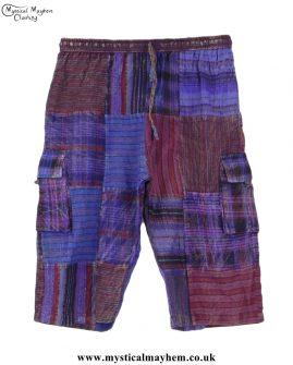 Purple-Cotton-Patchwork-Long-Festival-Shorts