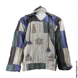Cream-Multicoloured-Patchwork-Hooded-Shirt