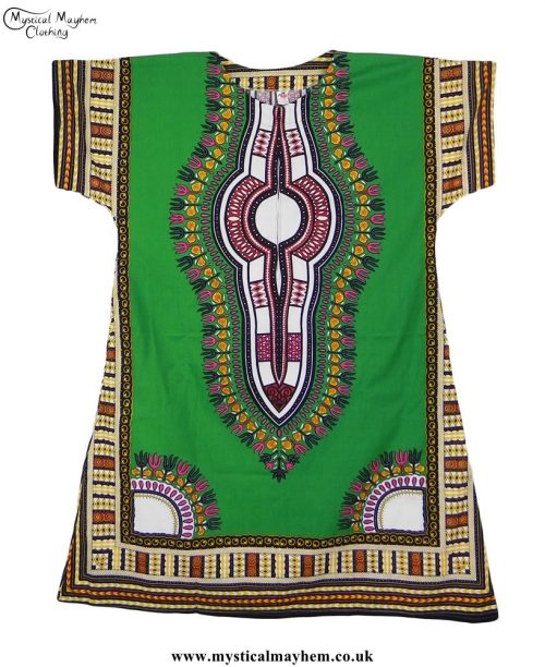 Green Long Cotton Thai Kaftan Dress Unisex