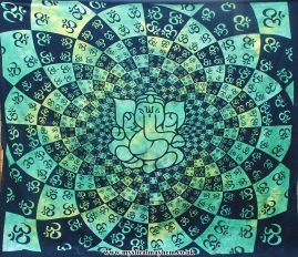 Green-and-Black-Tie-Dye-Ganesh-Hippy-Throw,-Bed-Spread,-Wall-Hanging