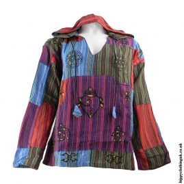 Multicoloured-Patchwork-Hooded-Shirt