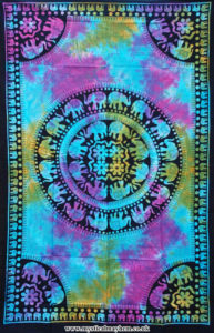 Multicoloured-Single-Sized-Elephant-Mandala-Throw,-Wall-Hanging,-Bed-Spread