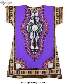 Purple Long Cotton Thai Kaftan Dress Unisex