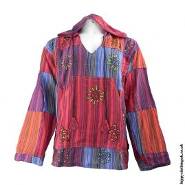 Red-Multicoloured-Patchwork-Hooded-Shirt