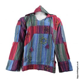 Turquoise-Multicoloured-Patchwork-Hooded-Shirt