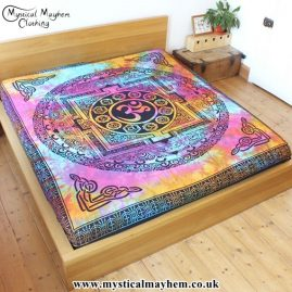 Multicoloured Tie Dye Om Throw, Bed Spread, Wall Hanging, Blanket