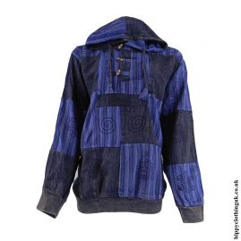 Blue-Cotton-Patchwork-Hooded-Hippy-Shirt