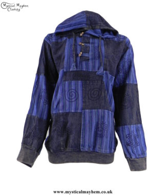 Blue-Overdyed-Cotton-Patchwork-Hooded-Hippy-Shirt
