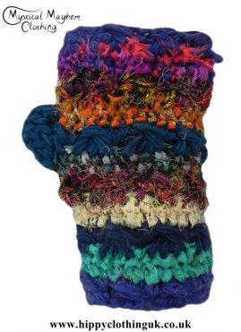 Blue-Wool,-Recycled-Silk-and-mixed-material-Wrist-Warmers