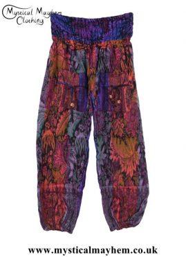Funky-Patterned-Acrylic-Hippy-Festival-Trousers---Orange,-Purple-&-Green