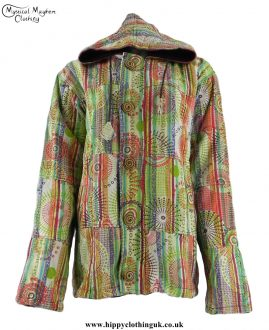Green-Fleece-Lined-Gheri-Cotton-Hooded-Festival-Jacket-with-Front-Zip