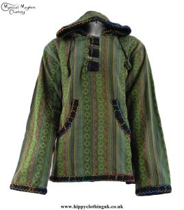 Green-Gheri-Cotton-Hippy-Festival-Fleece-Lined-Pullover-Hooded-Jacket