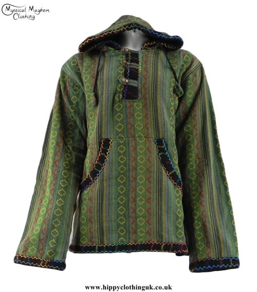 Green-Gheri-Cotton-Hippy-Festival-Fleece-Lined-Pullover-Hooded-Jacket