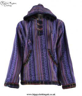Purple-Gheri-Cotton-Hippy-Festival-Fleece-Lined-Pullover-Hooded-Jacket