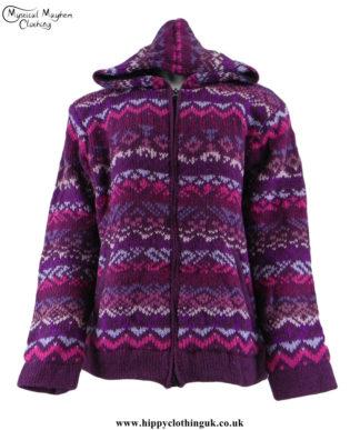 Purple-Nepalese-Wool-Fleece-Lined-Festval-Hippy-Jacket