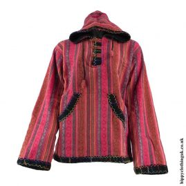 Red-Gheri-Cotton-Fleece-Lined-Pullover-Jacket