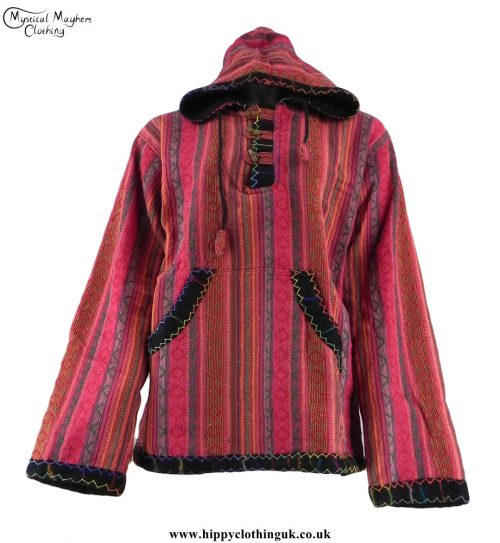 Red-Gheri-Cotton-Hippy-Festival-Fleece-Lined-Pullover-Hooded-Jacket