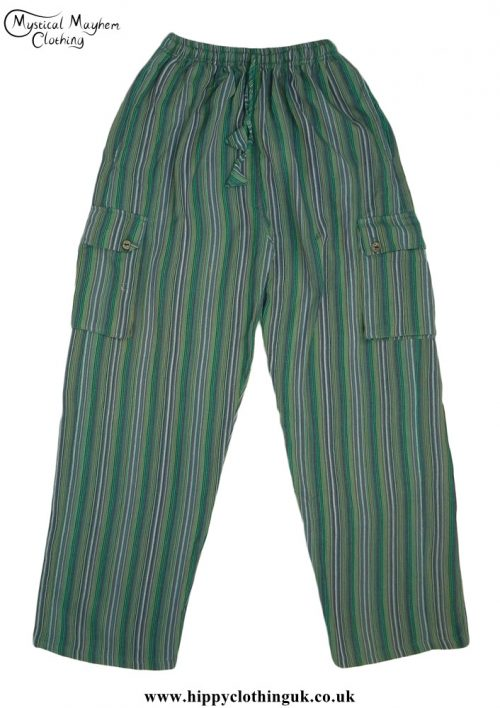 Striped-Cotton-Nepalese-Hippy-Festival-Trousers-Green