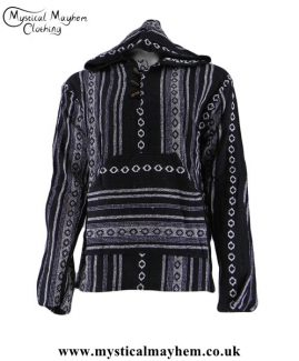 Striped-Hippy-Festival-Cotton-Thick-Weave-Hooded-Top---Black-&-White