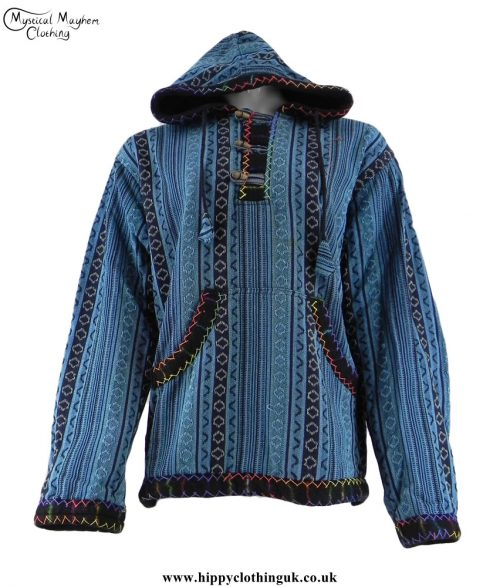 Turquoise-Gheri-Cotton-Hippy-Festival-Fleece-Lined-Pullover-Hooded-Jacket