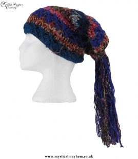 Blue-Mix-Multicoloured-Wool-&-Recycled-Silk-Hat-with-Tassels