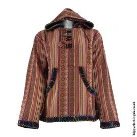 Brown-Gheri-Cotton-Fleece-Lined-Pullover-Jacket