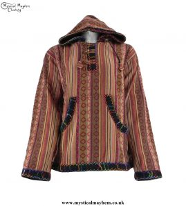 Brown-Gheri-Cotton-Hippy-Festival-Fleece-Lined-Pullover-Hooded-Jacket