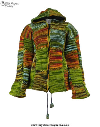 Green-Nepalese-Festival-Pixie-Hooded-Wool-Jacket