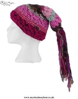 Pink-Multicoloured-Wool-&-Recycled-Silk-Hat-with-Tassels