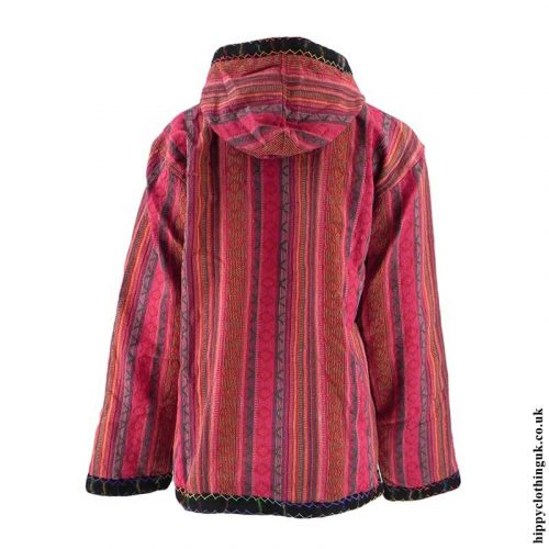 Red-Gheri-Cotton-Fleece-Lined-Pullover-Jacket-Back