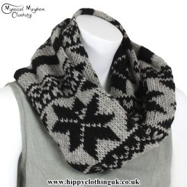 Black and Gray Wool Hippy Festival Snood
