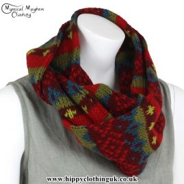 Burgundy and Red Wool Hippy Festival Snood