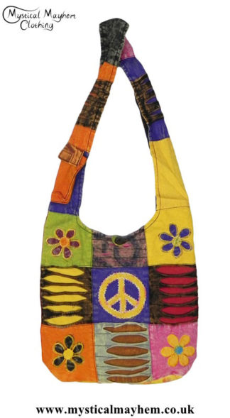 Cotton-Nepalese-Hippy-Peace-Sign-Patchwork-Shoulder-Bag
