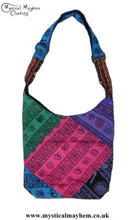 Multicoloured Om Hippy Festival Patchwork Shoulder Bags