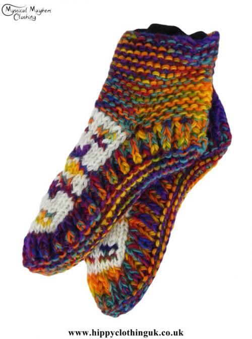 Nepalese-Short-Wool-Socks---Multicoloured-White