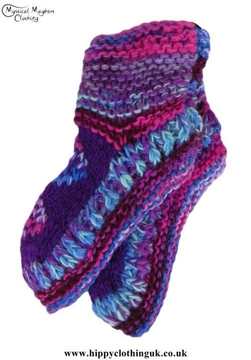 Nepalese-Short-Wool-Socks---Purple