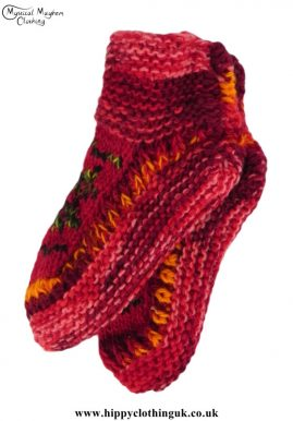 Nepalese-Short-Wool-Socks---Red