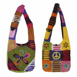 Hippy Peace Sign Patchwork Embroidery Shoulder Bag