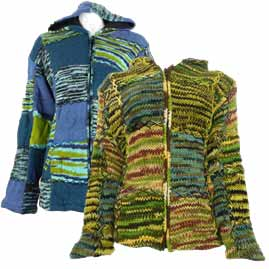 Wool Patchwork Hooded Jacket