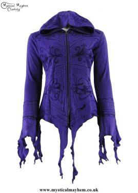 Purple-Nepalese-Embroidery-Ragged-Hem-Pixie-Jacket