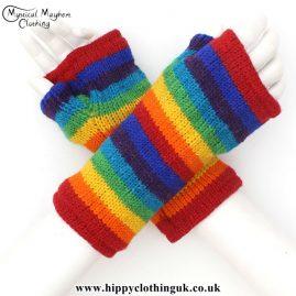 Rainbow Multicoloured Tube Gloves Wrist Warmers