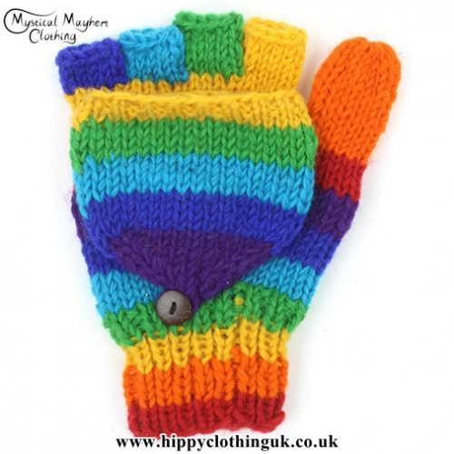 Rainbow Two in One Fingerless and Mitten Wool Gloves