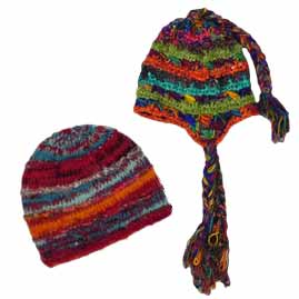 Wool and Recycled Silk Nepalese Hippy Hats