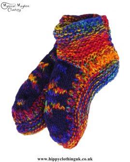 Nepalese-Short-Wool-Socks---Multicoloured-Purple