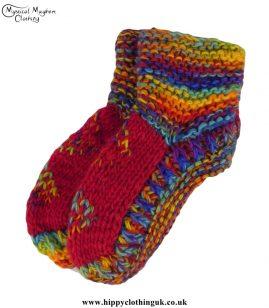 Nepalese-Short-Wool-Socks---Multicoloured-Red