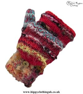 Nepalese-Two-in-One-Fingerless-and-Mitten-Wool-Gloves-Red